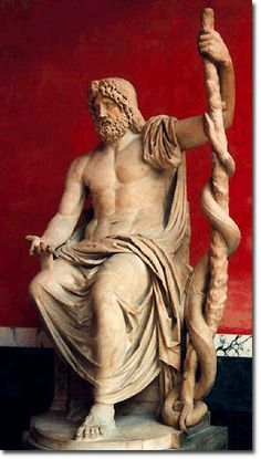 """Asclepius - Greek God of Healing. Interesting to note the serpent on the staff, which is a common symbol on many ambulences today.  Many believe the gods of myth owed their """"magical abilities"""" to advanced knowledge in their field of study, like medicine."""