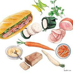 """Banh Mi"" (Vietnam Baguette) Illustrated by Le Rin Vietnamese Street Food, Vietnamese Recipes, Food Doodles, Food Sketch, Food Painting, Food Drawing, Food Illustrations, Food Design, Food Art"