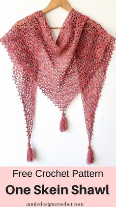 Free pattern for a lace crochet shawl that uses only of fingering weight yarn. One skein of yarn will make the light and lacy pattern. A wide wingspan to curl around your neck and shoulders - lovely as a Summer wrap, or a cosy scarf in colder months. One Skein Crochet, Crochet Shawl Free, Crochet Shawls And Wraps, Basic Crochet Stitches, Crochet Basics, Crochet Scarves, Free Crochet Shawl Patterns, Crochet Triangle Scarf, Crocheted Scarf