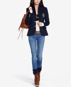 Ralph Lauren - updated navy blazer look Adrette Outfits, Moda Outfits, Blazer Outfits, Preppy Outfits, Preppy Mode, Preppy Style, My Style, Blazer Jeans, Ralph Lauren Custom Fit