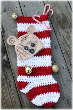 NEW PATTERN - Bear Peek A Boo Christmas Stocking Cocoon - 0-3 Month Size - Crochet PDF Pattern. $3.20, via Etsy.