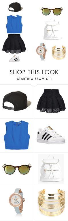 Street Style by niurkajm on Polyvore featuring moda, Alice + Olivia, adidas, Boohoo, WithChic, Monki and Brixton
