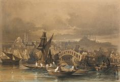 Amadeo Preziosi  Amadeo Preziosi 1816 - 1882 MALTESE GALATA BRIDGE, CONSTANTINOPLE signed and dated Constantinople par Preziosi 1857 lower left watercolour and pen and ink, heightened with gouache on brown paper 51 by 72.5cm., 20 by 28½in.