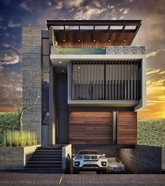 53 Ideas Home Exterior Design Contemporary Architecture Bungalow House Design, House Front Design, Small House Design, Modern House Design, Modern House Facades, Modern Architecture House, Architecture Design, Townhouse Designs, Appartement Design