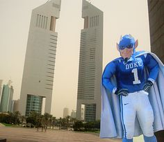 Flat Blue Devil travels to Dubai - Heh, this is cool: Make a Flat Stanley/'Amelie'-type cutout of your mascot and send it to where your students go!