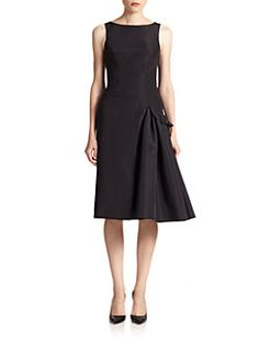 Carolina Herrera - Night Collection Silk Faille Side-Detail Dress