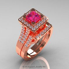 French 14K Rose Gold 1.0 Ct Princess Pink Sapphire by artmasters, $3199.00