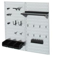 Wall Control 32 in. x 32 in. Shiny Metallic Galvanized Steel Pegboard Utility Tool Storage Kit with Red - The Home Depot Wall Control 32 in. x 32 in. Shiny Metallic Galvanized Steel Pegboard Utility Tool Storage Kit with Plastic Pegboard, White Pegboard, Steel Pegboard, Pegboard Organization, Plastic Bins, Organizing, Storage Sets, Tool Storage, Storage Spaces