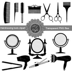 Vintage Hair Tools Clipart - Barber tools Clipart - Hairdressing tools clipart - Hair Accessories - scrapbook supplies - INSTANT DOWNLOAD. 13 elements of hairdressing accessories: barrette, combs, brush, hair-dryers, hair iron, hair curling iron, scissors, mirrors for decoration, scrapbooking, paper crafts or anything you like.   They are transparent PNG files, high quality - 300dpi, 8 inch long. All items are saved individually and compressed into one zip folder.