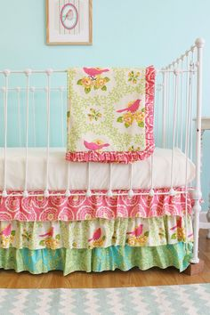 Bumperless Baby Girl Crib Bedding  Pink Garden by LottieDaBaby (add teething rail protector instead of quilt)