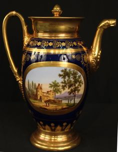 Lot: Old Paris porcelain tea pitcher with blue and gold, Lot Number: 0241, Starting Bid: $150, Auctioneer: Stevens Auction Company, Auction: New Year's Extravaganza Antique Auction, Date: January 7th, 2017 EST