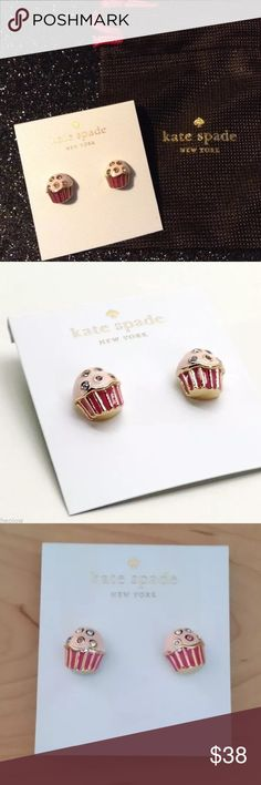 "Kate Spade Take the Cake Cupcake Earrings Cupcake shaped stud earrings. Features colored glass ""sprinkles"" Post backing. .5"" Imported. New with tags and gift pouch! kate spade Jewelry Earrings"