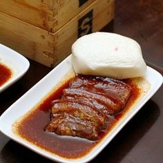 Steamed Black Sauce Pork Belly Served with Steamed White Bun. From Stacked, Singapore