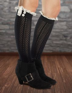 Black knee high socks with short booties - so chic! Fiorelle Norah Lacey Knee High Boot Socks, Crochet Lace & Buttons, Girls & Women (Black) at Amazon Women's Clothing store:
