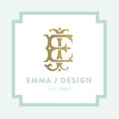 www.emmajdesign.com #logo #aqua #gold #branding