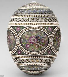 A mosaic Faberge Imperial Easter egg, from 1914, purchased by King George V for his wife, Queen Mary. It was originally commissioned by Tsar Nicholas II.