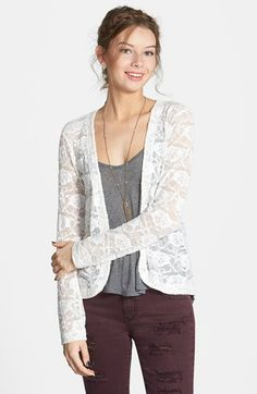 Free shipping and returns on Frenchi® Frenchi Lace Cardigan (Juniors) at Nordstrom.com. Embroidered roses lend romance to a sheer open cardigan finished with a flowing back drape.
