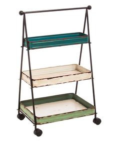 This Three-Tier Wheeled Cart is cool with three different paint color trays-- #zulilyfinds