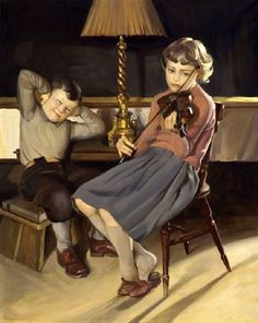 """Learning The Violin"" Knud Erik Edsberg (1911 – 2003, Danish)"