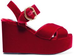 b8fd2f869c3 PRADA Velvet platform sandals Heel measures approximately 4 inches with a  inches platform Red velvet Buckle-fastening ankle strap Made in Italy