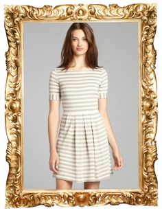 Grey and Ivory Stripe Fit and Flare Dress - $36 (was $128)