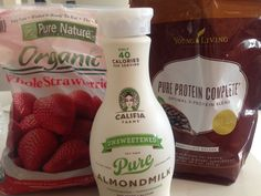 Three ingredient chocolate strawberry shake with Pure Protein from Young Living