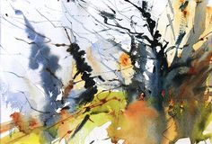 Winter Copse, Gatley Hill. Watercolour by Adrian Homersham http://adrianhomersham.co.uk/