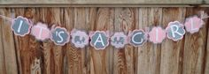 Elephant Banner It's a Girl Banner Baby Shower by Wildflowercraft