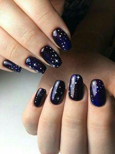 Creative Blue Nail Art Designs for Night Parties nail designs Star Nail Art, Star Nails, New Year's Nails, Diy Nails, Hair And Nails, Cute Nail Art, Easy Nail Art, Cute Nails, Nail Art Designs