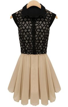 Embroidery Pleated Lace Dress