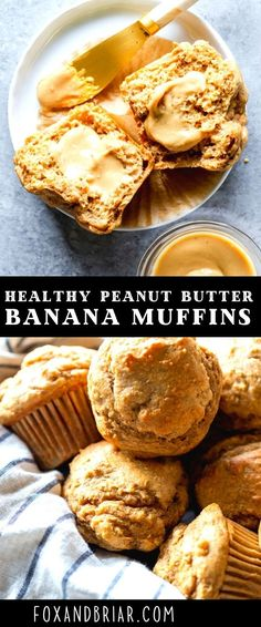 These Healthy Peanut Butter Banana Muffins are naturally sweetened with maple syrup, and packed full of healthy ingredients you can feel good about. They make a perfect after workout snack, make ahead breakfast or a snack for kids and toddlers!