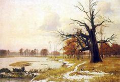 """Michał Wywiórski (Gorstkin) (1861-1926)     """"Łąki nad Wartą w Rogalinie"""",1907"""