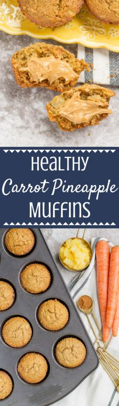 Healthy Carrot Pineapple Muffins are the perfect spring treat! Packed with veggies + sweetened only with honey and fruit, they're moist, easy to make + delicious! | spring brunch | easter brunch | spring muffins | healthy muffins | healthy breakfast | carrot muffins | healthy | gluten free | #healthy #muffins #glutenfree