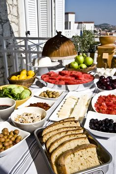 A Typical Turkish Breakfast Spread, Considered .Very Important It is a Time for Sharing, a Solid Full Meal, Meats, Breads, Cheeses, Veggies, Olives, Tomatoes, Cucumbers, French Breads, YUMMY !!