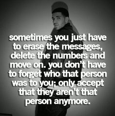 Letting go... moving on... it's not forgetting who they were to you... only that they are not anymore.