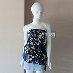 Soft Satin Material Royal Blue Floral Print Fabric Dress Tissue Flowers Pattern Fabric Meter