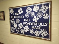 Made this winter bulletin board at the church. The kids made the snowflakes.
