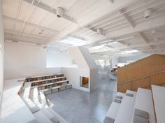 An office's amphitheater, library, nap nook.