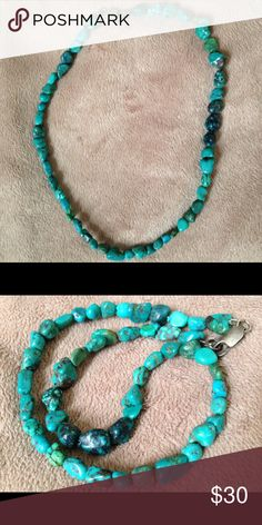 "Turquoise Necklace Pretty Turquoise Pebble Necklace Summer Ready to wear with your favorite white shirt and jeans or Maxi dress! 16"" long. Jewelry Necklaces"