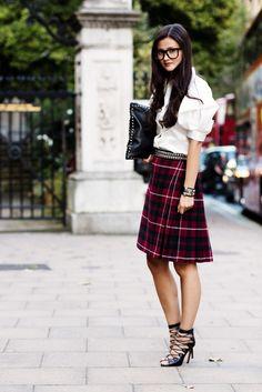 Peony Lim - London Fashion Week SS2013 - Prada shirt, vintage skirt, vintage belt, Zara glasses, Hermes cuff,  Valentino bag and Alaia shoes.