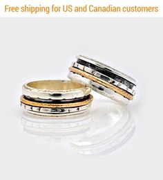 Silver and Gold Oxidized Spinning Ring, Dual Band Spinning Ring, Silver and Gold Fidget Ring, Unisex Ring, Silver Spinner Ring, Worry Ring