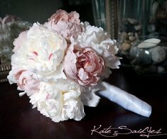 Wedding Bouquet Peony Bouquet Ivory and Blush Pink by KateSaidYes, $130.00