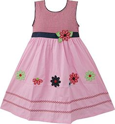 Sunny Fashion Girls Dress Pink Tartan Embroidered Flower Party Boutique 6 -- Learn more by visiting the image link.