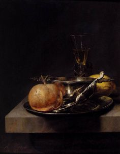 dutch-and-flemish-painters: Cornelis Kick - Still-Life with Silver Cup - second half of 17th century oil on panel, Height: 44 cm (17.3 in). Width: 34 cm (13.4 in). Cornelis Kick (bapt. 12 March 1634, Amsterdam – 18 June 1681, Amsterdam) was a Dutch Golden Age painter.