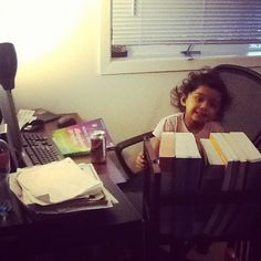 Connie has a little study buddy! | Where We Study Photo Contest #wherewestudy #studyspaces #onlinelearning