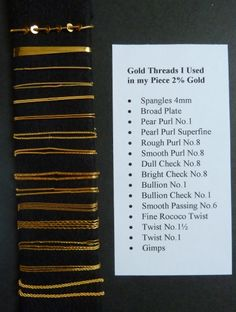 2% gold, goldwork thread samples that I used for this piece