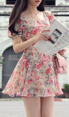 dress - http://zzkko.com/n221819-013-summer-new-high-end-Korean-ladies-custom-print-dress-Floral-Dress-Chiffon-fresh.html $31.66