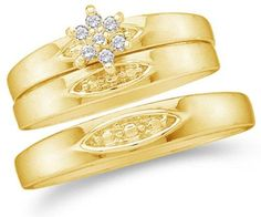 10K Yellow Gold Diamond Mens and Ladies Couple His & Hers Trio