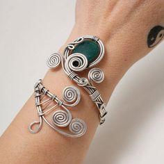 emerald jewelry silver wire jewelry emerald bracelets for women silver cuff bracelet emerald cuff bracelet wire wrapped jewelry handmade Emerald Jewelry, Copper Jewelry, Beaded Jewelry, Handmade Jewelry, Unique Jewelry, Rose Quartz Bracelet, Wire Jewelry Making, Swarovski Bracelet, Wire Wrapped Bracelet