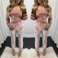 Price: US $21.80 Autumn Jumpsuit Sexy Long Sleeve Off The Shoulder Two Piece outfits Winter Bodysuit Women Clothing Clubwear Velet Sets